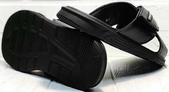 Красивые шлепки на лето черные босоножки на плоской подошве мужские Brionis 155LB-7286 Leather Black.