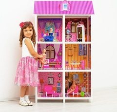 PAREMO Трехэтажный кукольный дом (6 комнат, 3 куклы) (PPCD116-06)