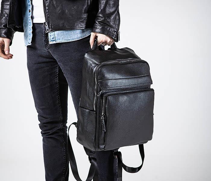 BAG530-1 Большой кожаный рюкзак черного цвета фото 02