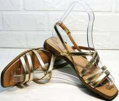 Стильные сандали босоножки женские купить Wollen M.20237D ZS Gold.