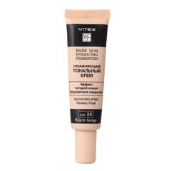 Увлажняющий тональный крем, тон 34: warm beige. VITEX NUDE SKIN HYDRATING FOUNDATION, 30 мл.