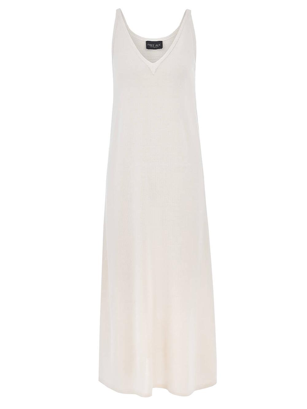 Женское платье белого цвета из шелка и вискозы - фото 1