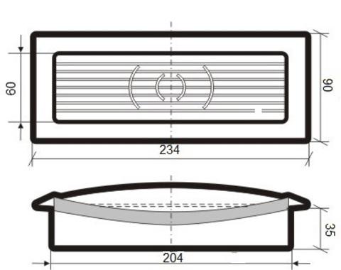 Решетка приточно-вытяжная с фланцем 204х60