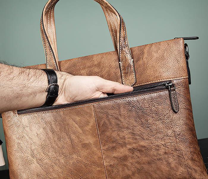 BAG510-2 Мужской кожаный портфель с ремнем на плечо фото 08