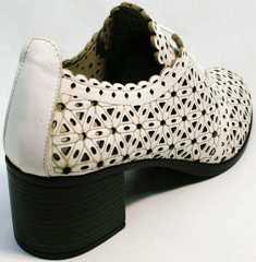 Кожаные женские босоножки на устойчивом каблуке Arella 426-33 White.