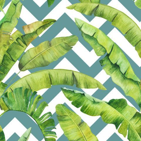 Банановые листья и зигзаги. Акварельный модерн