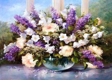 Картина раскраска по номерам 40x50 Букет в прозрачной круглой вазе (Без подрамника)