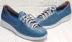 Полуспортивные туфли кроссовки летние женские модный кэжуал Wollen P029-2096-24 Blue White.