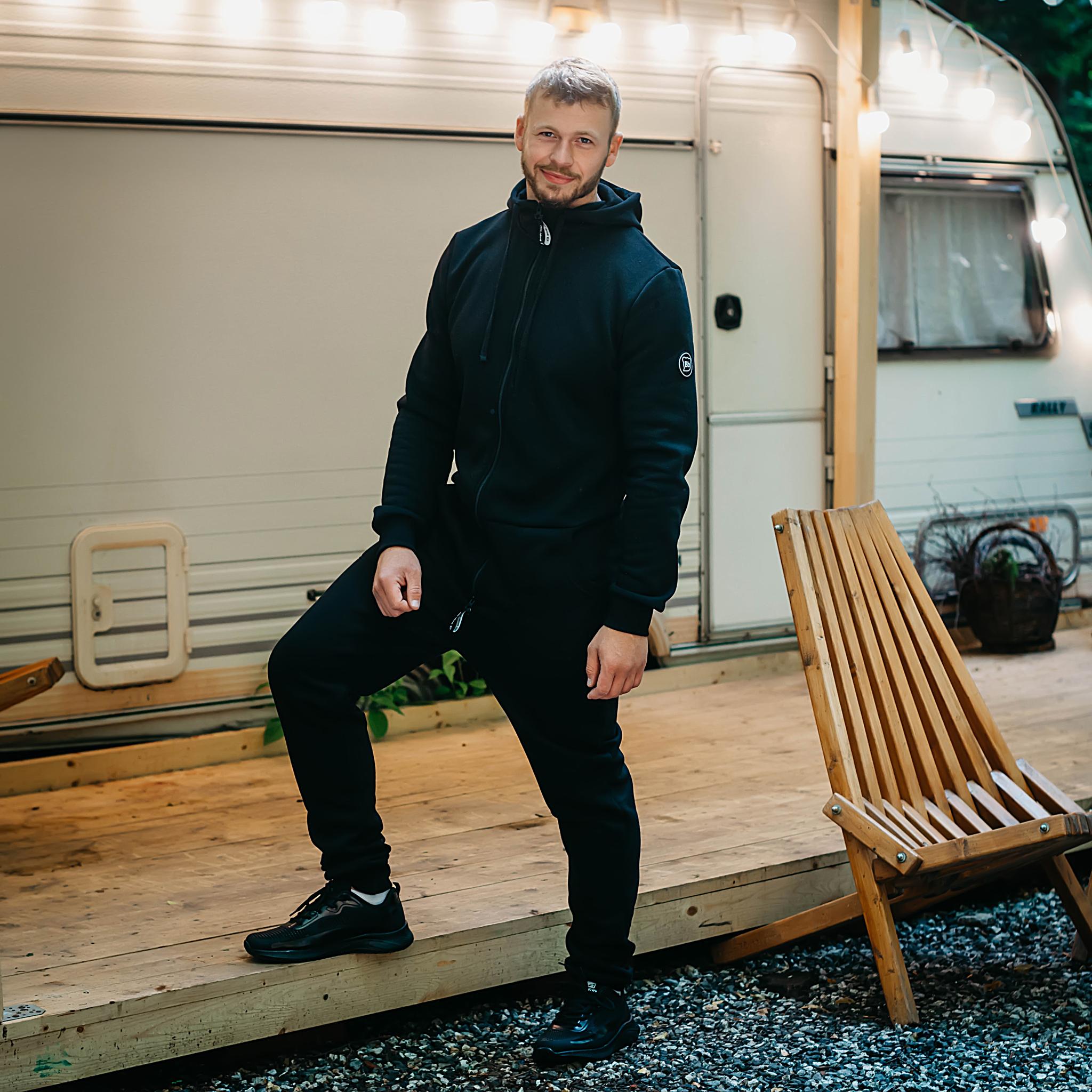 Warm jumpsuit for men - Black