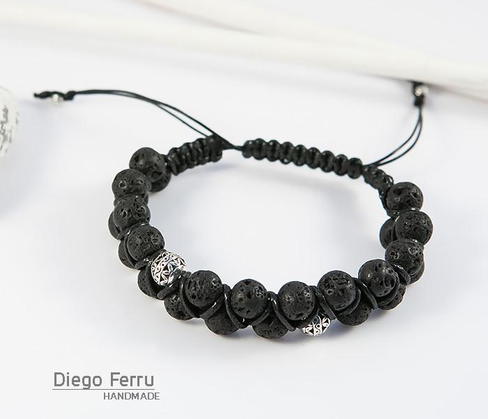 BS644-2 Мужской браслет из вулканической лавы, ручная работа, «Diego Ferru» фото 03