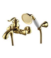 Смеситель для ванны и душа Lemark Brava LM4712G однорычажный с лейкой и шлангом, настенное крепление, цвет - золото