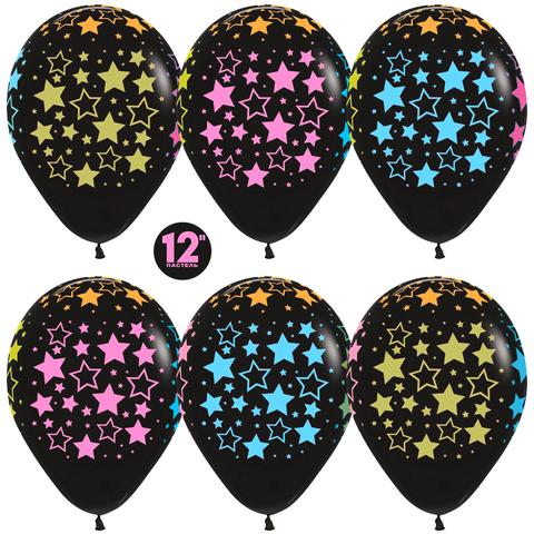 Воздушные шары черные со звёздами