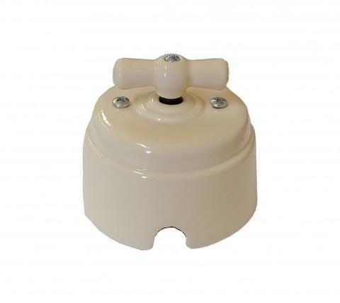 Выключатель керамический 1-2 клавишный (слоновая кость)