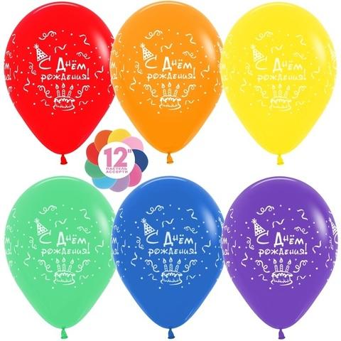 S 12'' С Днем рождения! (торт), Ассорти, пастель, 4 ст