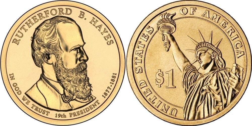 1 доллар 19-й президент США Резерфорд Бёрчард Хейс 2011 год