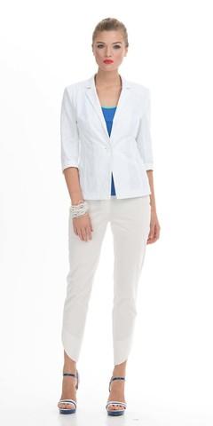Фото белые хлопковые брюки с ассиметричным низом и застежкой молнией и пуговицей - Брюки А401-343 (1)