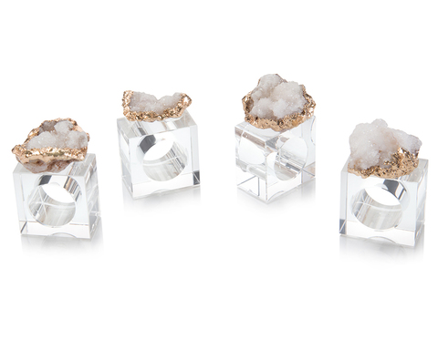 Set of Four White and Gold Geode Napkin Rings