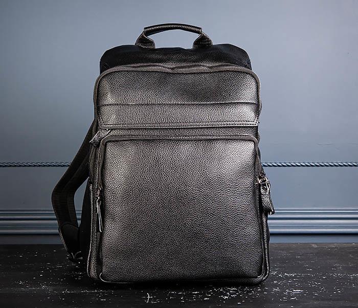 BAG530-1 Большой кожаный рюкзак черного цвета фото 04