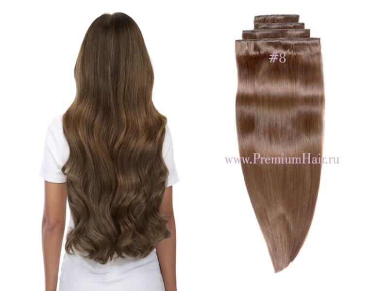 Натуральные волосы на заколках тон 8 темно-русый