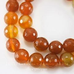 Бусина Агат (тониров), шарик с огранкой, цвет - оранжевый с желтым, 10 мм, нить