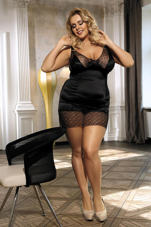 Сорочка женская облегающая черная с разрезом
