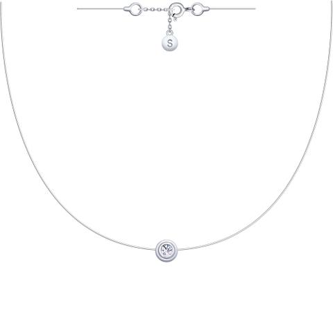 94070152- Завальцованный фианит на леске-невидимке с серебряными замочками