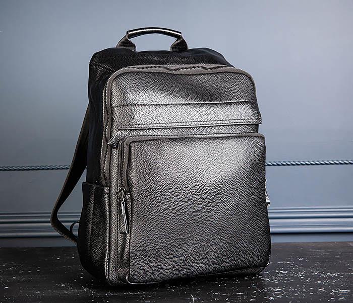 BAG530-1 Большой кожаный рюкзак черного цвета фото 05