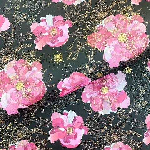 Бумага подарочная Цветы на черном