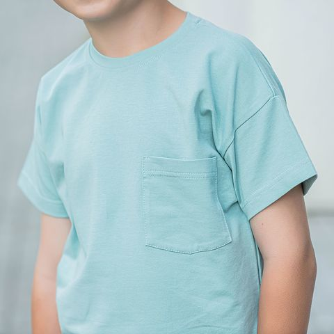 T-shirt with pocket for teens - Sea Blue