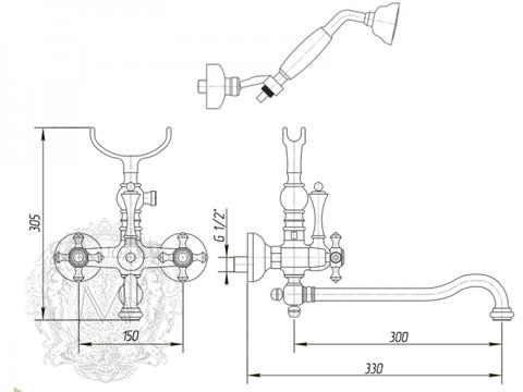 Смеситель для ванны с поворотным изливом Migliore Prestige ML.PRS-703 схема