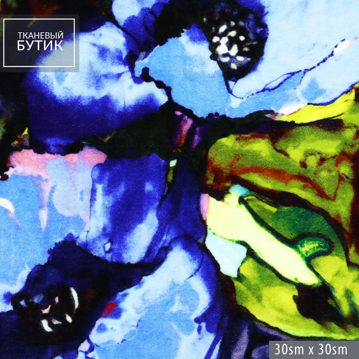 Вискозно-шелковый бархат с синими цветами