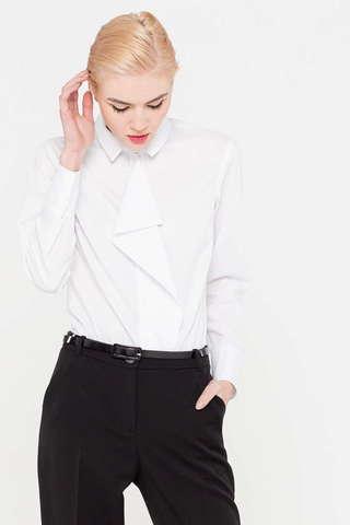 Фото классическая белая блузка с ниспадающей манишкой - Блуза Г688-736 (1)