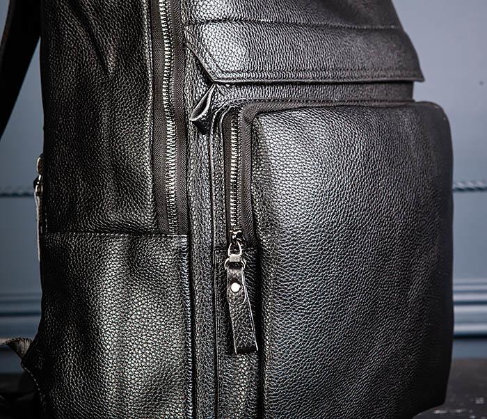BAG530-1 Большой кожаный рюкзак черного цвета фото 06