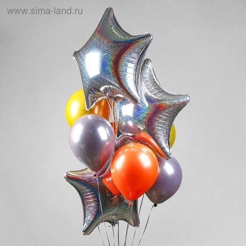 Букет из шаров «Звезда», набор 9 шт. + грузик, цвет серебряный