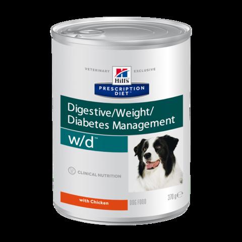 Hill's Prescription Diet W/D Консервы для собак при сахарном диабете, запорах и колитах