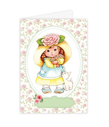 Открытка–папертоль Девочка с розами – главное фото сюжета.