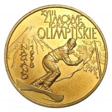 2 злотых Нагано 1998, XVIII Зимние олимпийские (Спорт) 1998 год, Польша. UNC