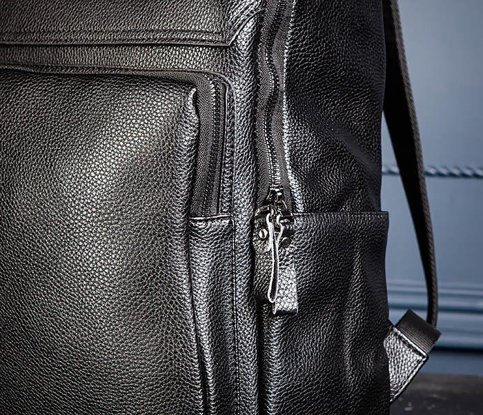 BAG530-1 Большой кожаный рюкзак черного цвета фото 07