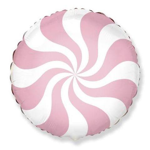 Фольгированный шар круг , леденец, розовый, 46 см