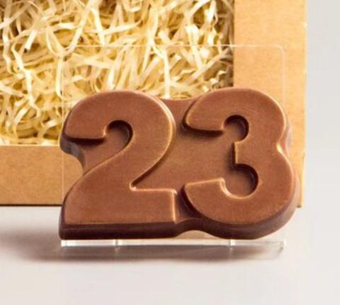 Пластиковая форма для шоколада муж. 23 ЦИФРЫ ПЛОСКОЕ 55х85мм