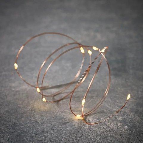 Новогодняя светодиодная гирлянда теплый белый свет на батарейках и медном проводе