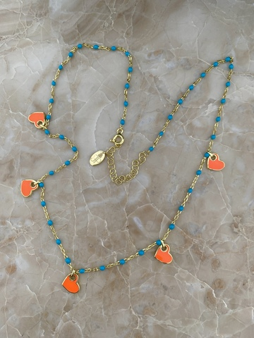 Колье Лавуа с голубой и оранжевой эмалью