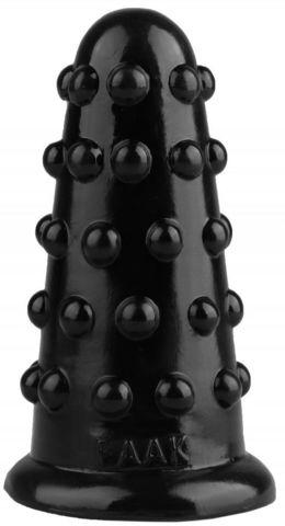 Черная анальная втулка с шипиками - 15,5 см.