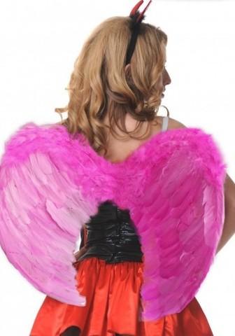 Крылья перьевые закругленные 60*50 розовые 02886OS