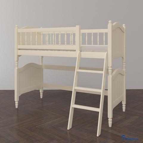 Невысокая кровать-чердак Diadema в классическом стиле. Цвет бежевый (слоновая кость)