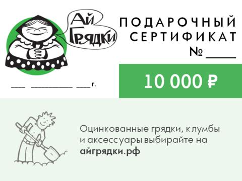 Подарочный сертификат АЙГРЯДКИ! на 10000 руб.