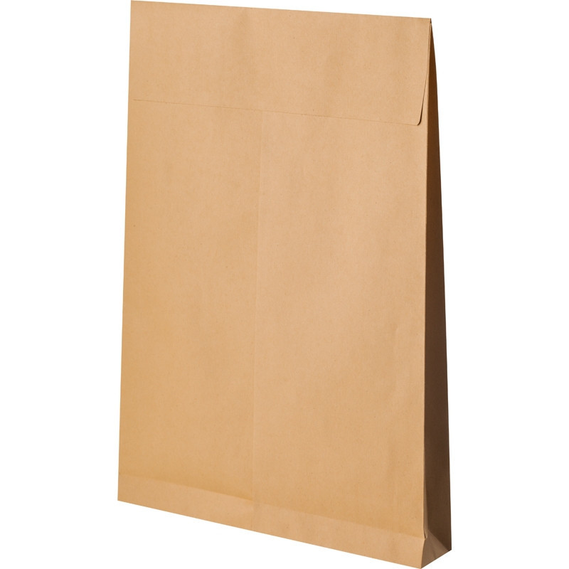 Пакет Bong Gusset В4 из крафт-бумаги 130 г/кв.м стрип (200 штук в упаковке)