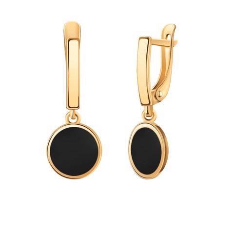 20619эс10 - Серьги из золота с круглыми подвесками с черной эмалью