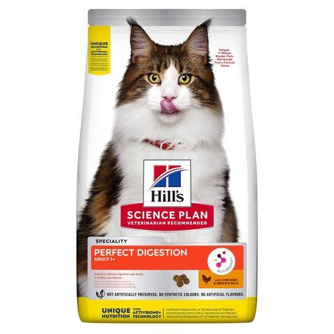 Сухой корм для взрослых кошек Hill's Science Plan PERFECT DIGESTION, с курицей и коричневым рисом, 1.5 кг