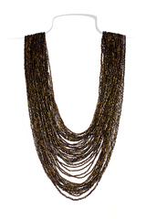 Бисерное ожерелье из 36 нитей янтарное длинное